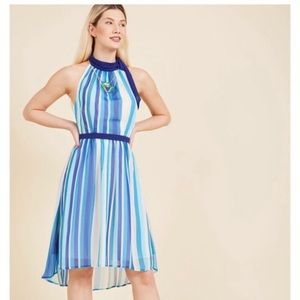 ModCloth halter flowy high low striped dress L